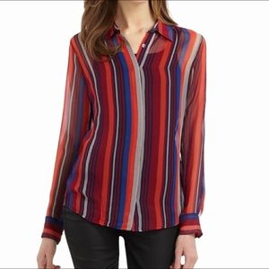Equipment Femme Striped Silk Blouse Size L